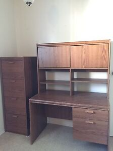 Desk with hutch and cabinet for home or office