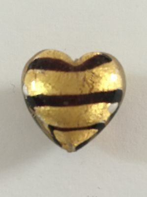 One 25mm Gold and black striped  Murano glass heart shaped focal bead