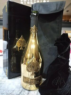 Ace of spades Gold Bottle set with box and pouch and cover. Used and empty