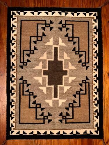 FINEST NAVAJO 2 GREY HILLS TAPESTRY/RUG,INCREDIBLE DESIGNS INCL BORDER & SELVAGE