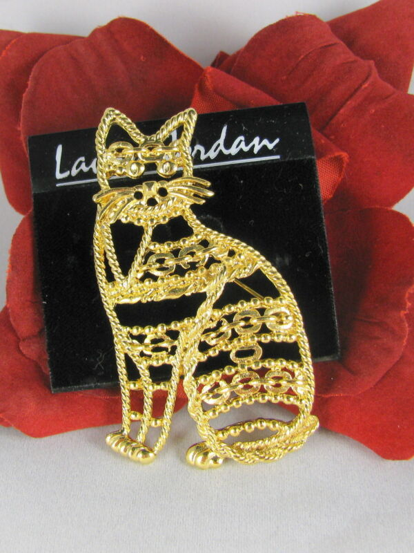 Adorable Gold tone Kitty Cat  Pin Brooch FERAL  CAT RESCUE