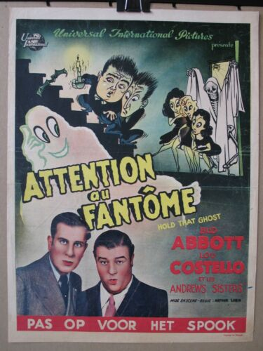 HOLD THAT GHOST 1941 Original Belgian Poster, Abbott & Costello, Andrews Sisters