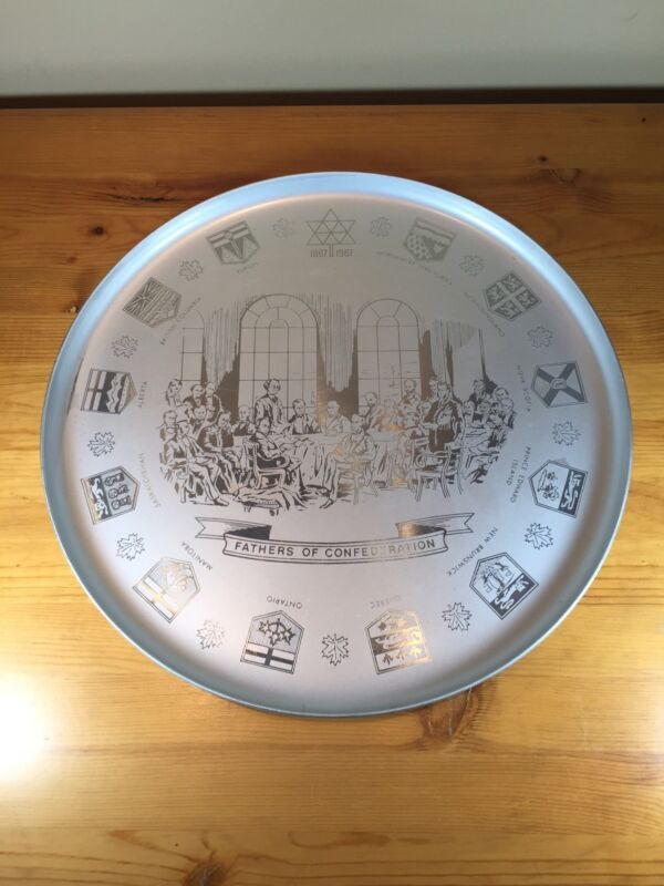 Fathers Of Canadian Confederation Round Metal Tray 1867-1967