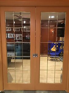 French Pocket Doors w/ bevelled glass and bass inserts London Ontario image 1