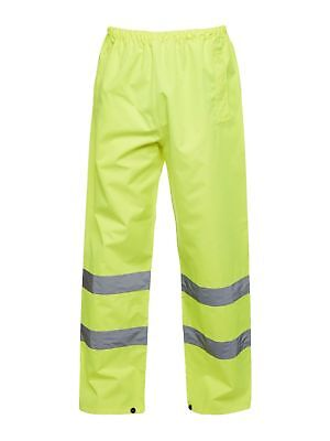 WATERPROOF OVERTROUSERS HI VIS HIGH VISIBILITY TROUSERS YELLOW ST 1 PAIR LARGE