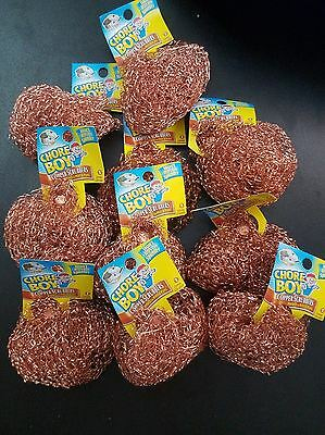 CHORE BOY COPPER SCRUBBER 10 PIECES LOT 100 % COPPER MULTI PURPOSE CLEANING