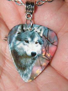 GUITAR PICK WOLF Necklace WOLVES Picture & Silver Charm 23