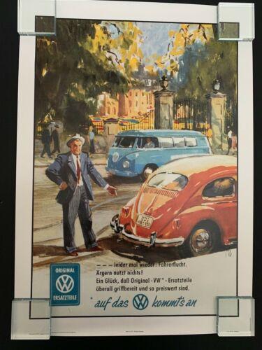 Repro 1960s Volkswagen Bulli Samba Bus + VW Beetle Bug Poster Print: Garage Home