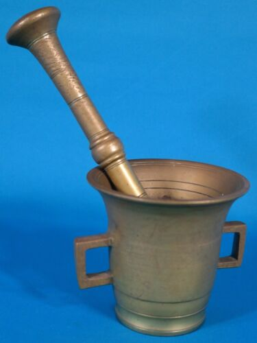 Vintage Heavy Solid Brass Apothecary  Mortar & Pestle