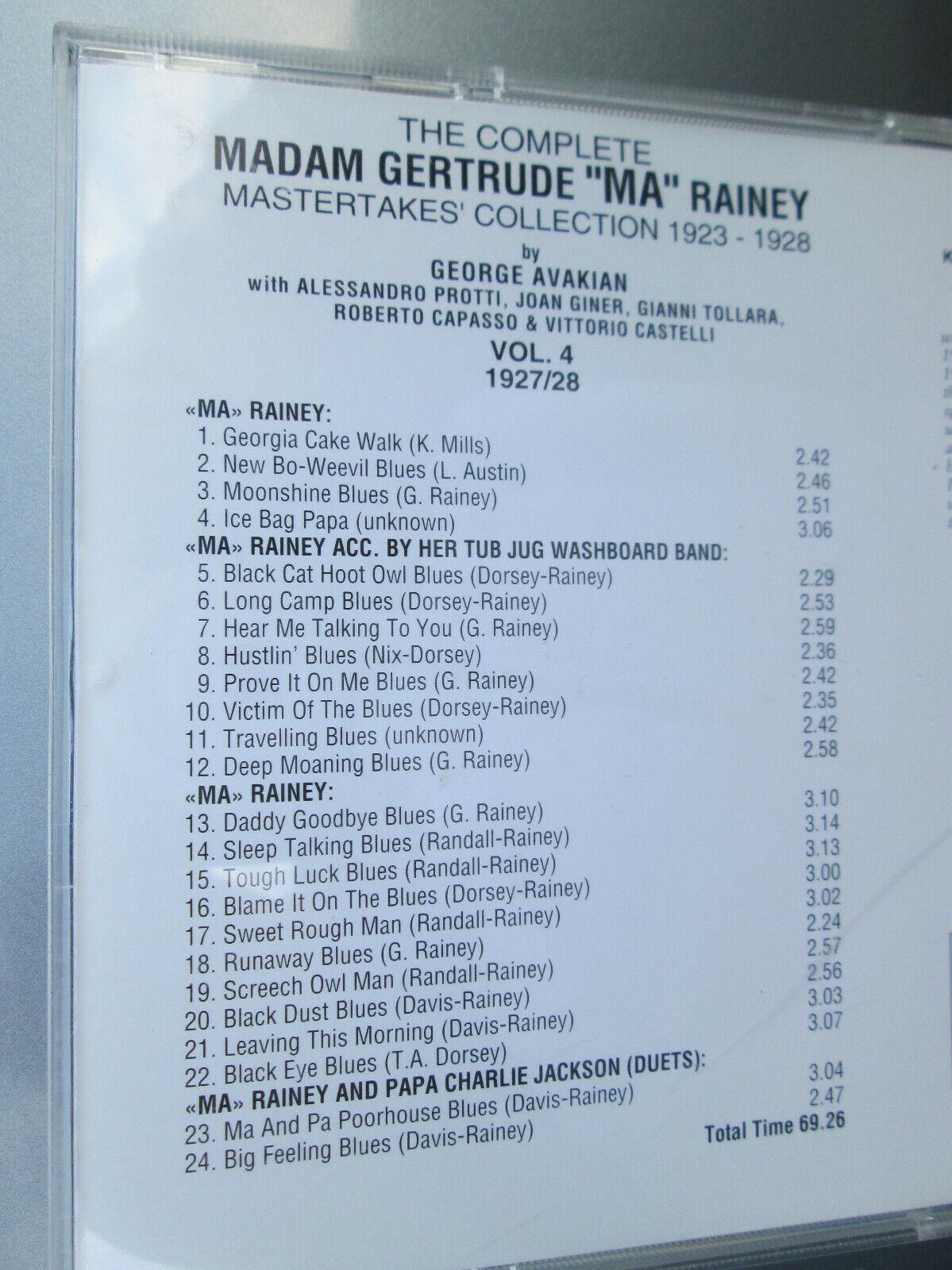 GERTRUDE RAINEY - Complete Madam Gertrude ma Rainey, Vol. 4 1927/1928 CLEAN  - $59.99