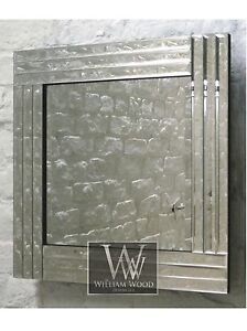Trevina Silver Glass Framed Square Bevelled Wall Mirror 24