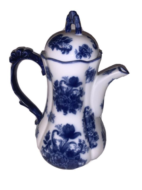 """FLOW BLUE Teapot Hindustan Pattern 10- 1/2"""""""