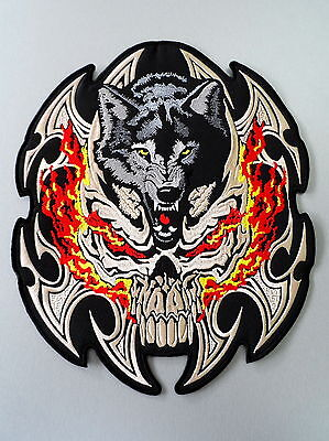 EMBROIDERED BIKER MOTORCYCLE SKULL  WOLF BACK JACKET PATCH