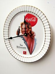 OVAL SHAPED  COCA COLA  WHITE PLATE WALL CLOCK 12 X 10