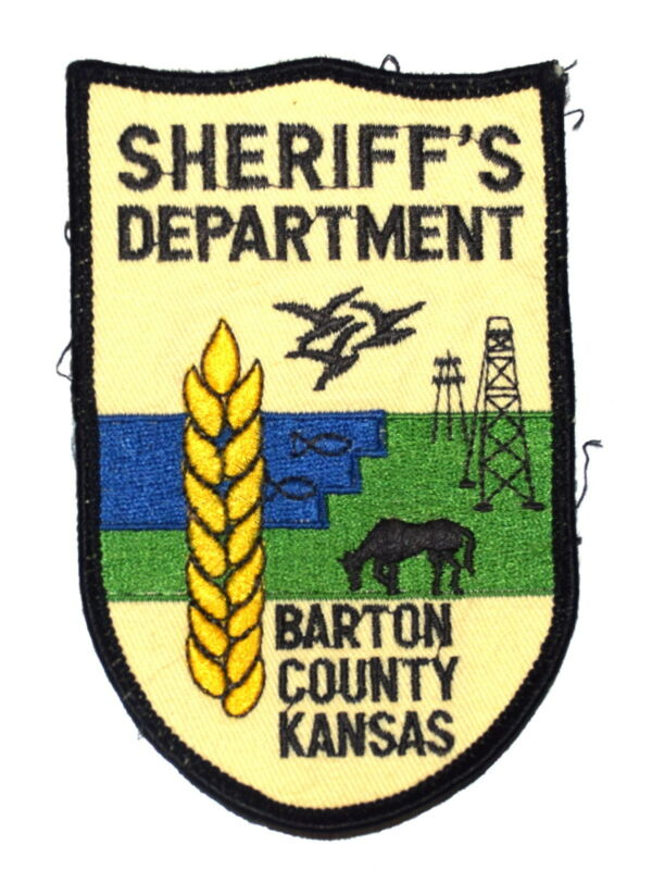 BARTON COUNTY KANSAS KS Police Sheriff Patch OIL WELLS HORSE WHEAT JET PLANE ~