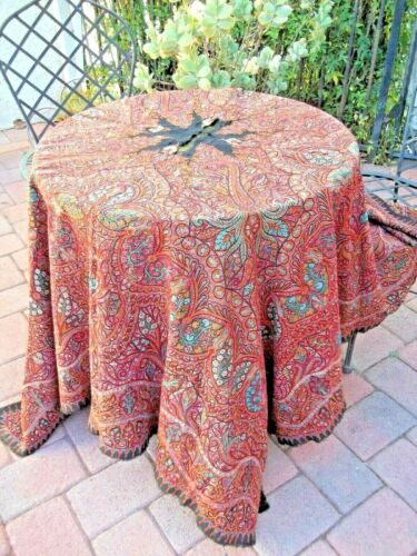 ANTIQUE C1800S Hand Embroidery PAISLEY KASHMIR Beautiful Tablecloth Shawl 66x68