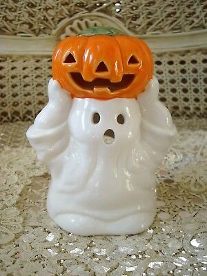 MIDWEST IMPORTERS HALOWEEN CERAMIC GHOST WITH PUMPKIN VOTIVE HOLDER **RETIRED**
