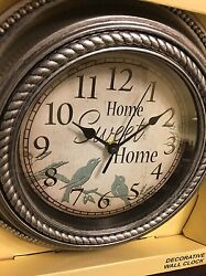 Kitchen 12 HOME SWEET HOME Kitchen Wall Clock Battery Operated Gray Birds NEW