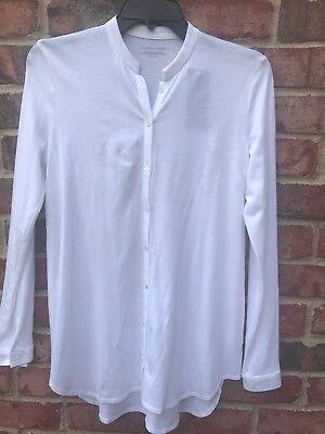 Mandarin Collar Cotton (NWT EILEEN FISHER Organic Cotton Easy Jersey White Mandarin Collar Shirt$148 XXS )
