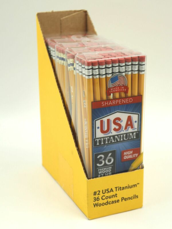 Pencils Sharpened 36 Premium Wood #2 HB USA Titanium Durable Lead Pack of 5