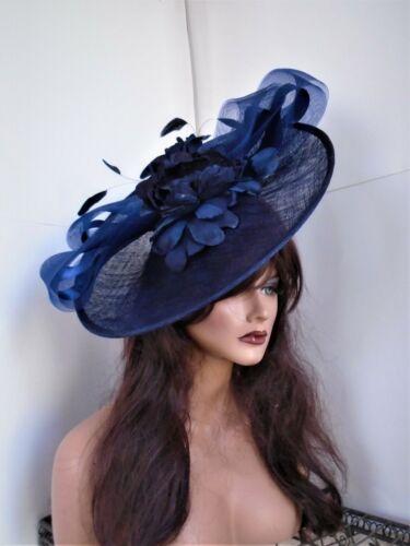 Navy blue fascinator dress formal feather Kentucky Derby church wedding large