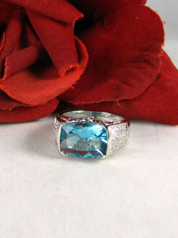 Sterling Silver Sparkling  Blue & White  Ring Size 9 CAT RESCUE
