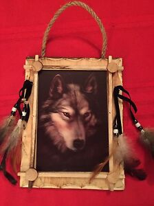 Wolf Framed with Feathers