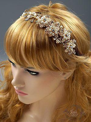 Crystal Pearl Flower Headband Headpiece Tiara Bridal Wedding Accessory 00593 G