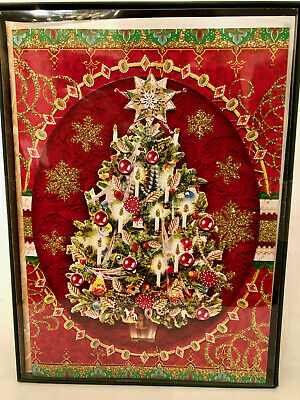 Punch Studio CHRISTMAS TREE CHRISTMAS CARDS. Box 12. Die-Cut.  -