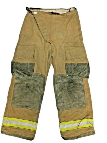 32x30 Globe Brown Firefighter Turnout Pants with Yellow Stripes No Liner PNL-25
