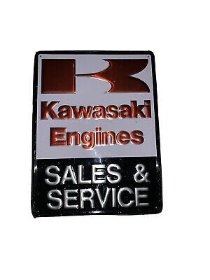 Vintage Kawasaki Metal Sign Sales And Service Original Factory Sample 24 X 18