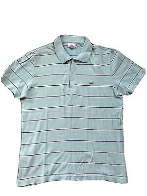Lacoste Polo - Size 4/ M - Authentic - Aqua Stripe - VGC
