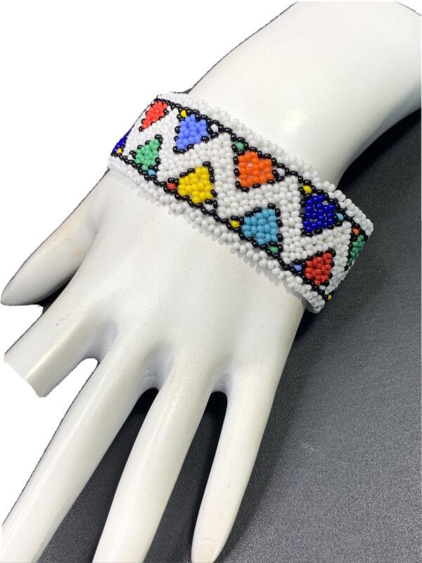 """Bracelet Bohemian Multi Color Bright Woven GLASS Bead Bracelet Button Clasp 7.5"""""""