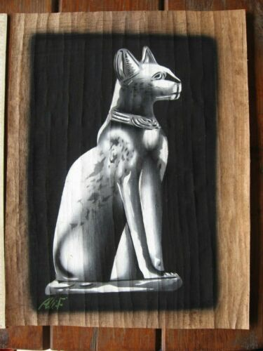 Egyptian Art Picture on Papyrus, with  Frame ,cat, ,Handpainted