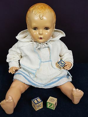 A.M. Corp Comp/Cloth Baby Doll Vintage Large 23 inches Molded Hair Tin Eyes