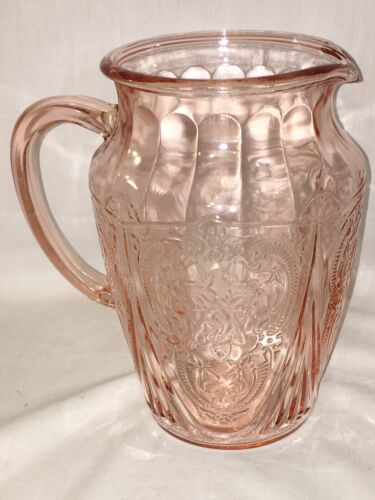"Hazel Atlas ROYAL LACE PINK * 8"" - 64 oz PITCHER * NO ICE LIP* #1*"