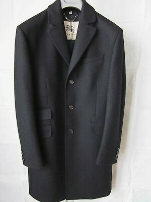BURBERRY LONDON VERY COOL MEN'S TAILORED BLACK WOOL COAT w/ NOTCHED LAPEL