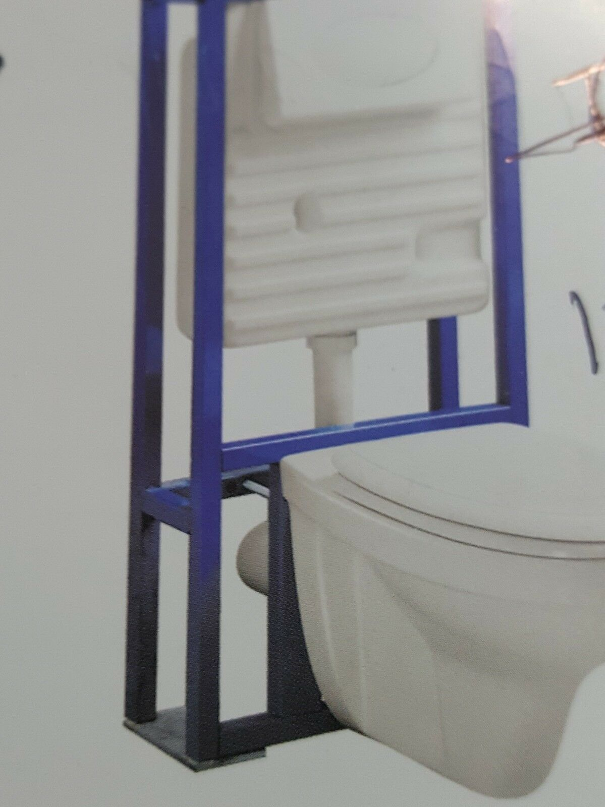 wall hung metal frame for toilet and bidet with chrome flush