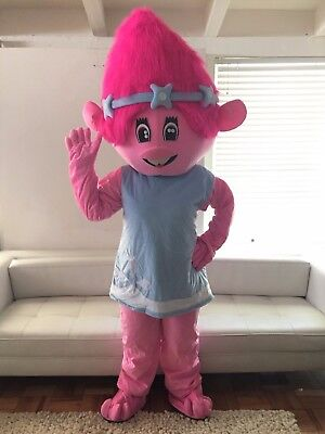 Troll Poppy  Mascot Costume Adult Halloween BIRTHDAY Movie Girl Party Pink USA](Girl Cartoon Character Costumes)