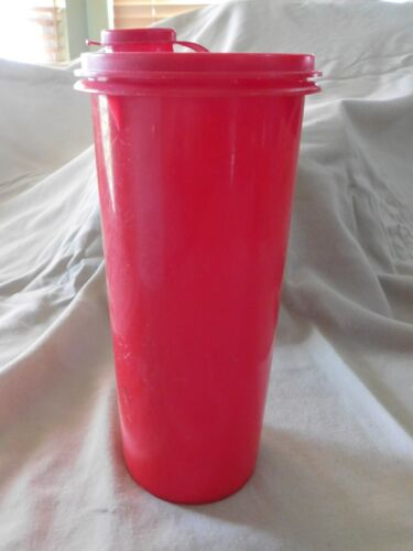 "Vintage Tupperware Handolier Pitcher  / Canister w/ Lid - Red - 8"" Tall - # 262"