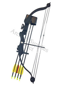ARCHERY YOUTH BLACK COMPOUND BOW AND ARROWS SET KIT PACKAGE 20LB