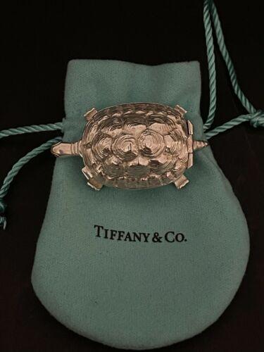 "VINTAGE TIFFANY & CO. STERLING SILVER RARE TURTLE 28g TRINKET/ PILL BOX 2"" LONG"