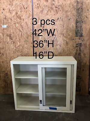 Labcrafters Lab Glass Overhead Cabinet Tanwhite 42x36x16 Deep