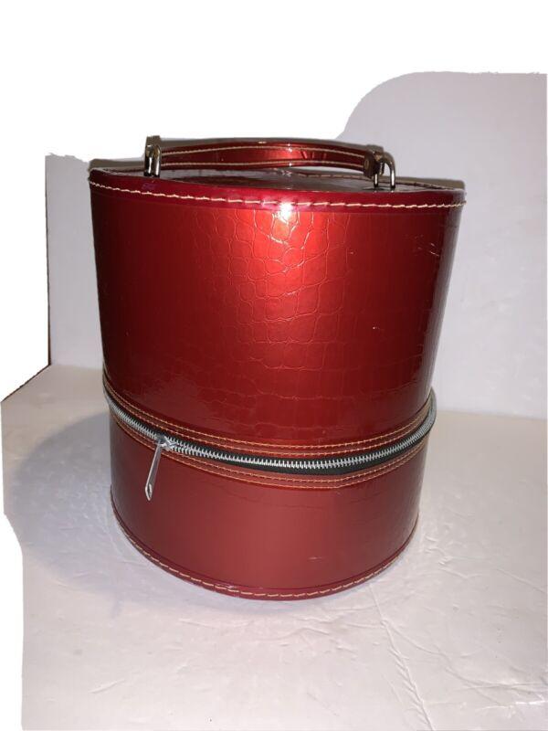 Vintage Red Vinyl Alligator Pattern Round Hat Wig Carrier Travel Box Case