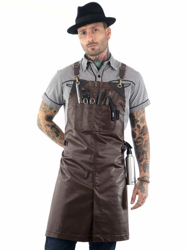 Barber Apron - Brown Coated, Water Resistant, Leather Trim, CrossBack, Split - H
