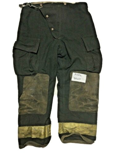 38x30 Globe Black Firefighter Turnout Pants with Yellow Reflective Tape P1272