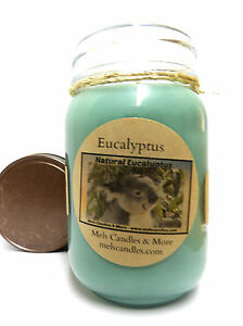 EUCALYPTUS 16oz Country Jar Soy Candle Handmade Wholesale Scented Candles