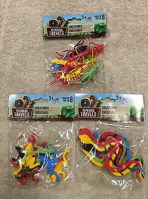 Backyard Travels 24 Pcs Of Different Creatures- Snakes Frogs Insects - Toy Frogs
