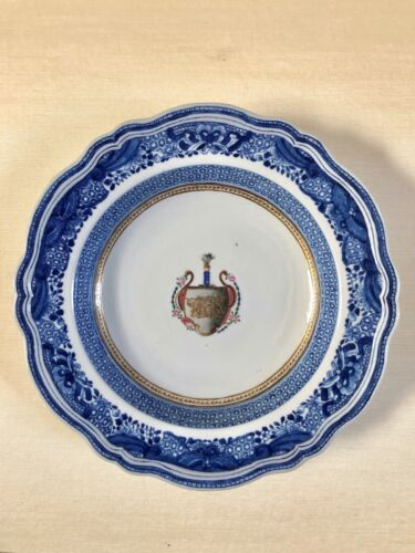 Antique Blue Fitzhugh Pattern Chinese Export Armorial Heraldic Soup Bowl Plate