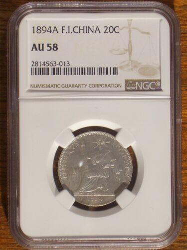 1894  French Indo-china 20 cent NGC AU 58